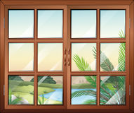 A closed window near the pond. Illustration of a closed window near the pond stock illustration