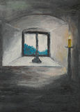 Closed window, oil painting Stock Photos
