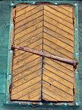 Closed window. Old closed weathered yellow window royalty free stock photos