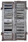 Closed window with old wood shutters Stock Image