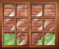 A closed window and a stonewall. Illustration of a closed window and a stonewall Royalty Free Stock Images