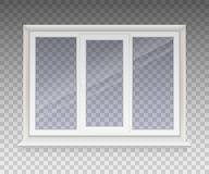 Closed window with transparent glass in a white frame. Isolated on a transparent background. Vector royalty free illustration