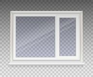 Closed window with transparent glass in a white frame. Isolated on a transparent background. Vector vector illustration
