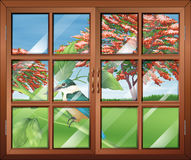 A closed window with a view of the bird outside Royalty Free Stock Image