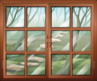 A closed window with a view of the forest. Illustration of a closed window with a view of the forest vector illustration