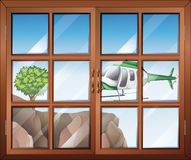 A closed window with a view of the helicopter going to the cliff vector illustration