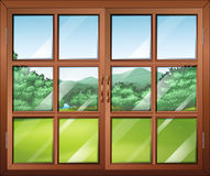 A closed window with a view Stock Photo