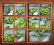 A closed window with a view of the plants and the stonewall. Illustration of a closed window with a view of the plants and the stonewall Stock Photography
