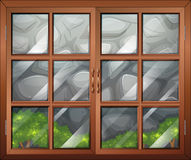 A closed window with a view of the stonewall. Illustration of a closed window with a view of the stonewall Stock Photography