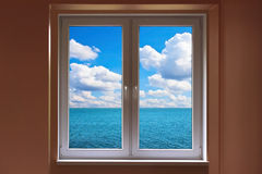 Closed window and view to sea Royalty Free Stock Photography