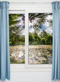 Closed Window With Curtains In Rainy Autumn Royalty Free Stock Photos