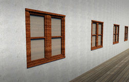 Closed windows in a concrete wall Royalty Free Stock Images
