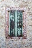 Closed windows of a traditional house in Ayvalik, Turkey Royalty Free Stock Photos