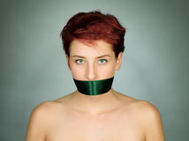 Closed womans mouth Royalty Free Stock Image