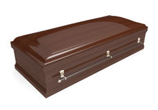 Closed wood coffin with carrying handles Stock Photography