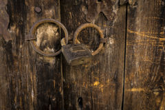 Closed Wood Door. Old Vintage Closed Wood Door Royalty Free Stock Images