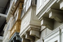 Closed Wooden Balconies In Valletta, Malta.  Royalty Free Stock Image