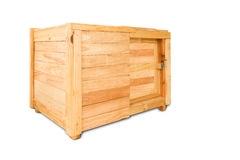 Closed wooden box with clipping path  on white Stock Images