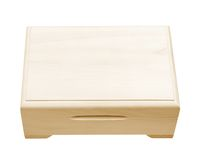 Closed wooden box isolated on white. Stock Image