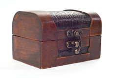 Closed wooden chest Stock Images