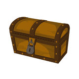 Closed wooden chest. stock illustration