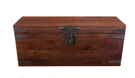 Free Closed Wooden Chest Frontal View Royalty Free Stock Images - 32379819