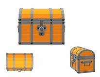 Closed wooden chest. Isolated on white background. 3d Vector ill. Ustration. Different viewes vector illustration