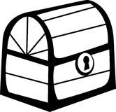 Closed wooden chest. Vector file format available. Black and white illustration of a closed wooden chest. Vector format available as EPS file Royalty Free Stock Image