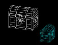 Closed wooden chest. Vector outline illustration. Dimetric projection royalty free illustration