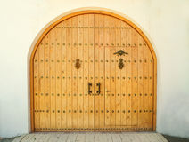 Closed wooden door in daytime stock images