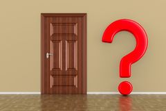 Closed wooden door and question in hall. 3D illustration Stock Image