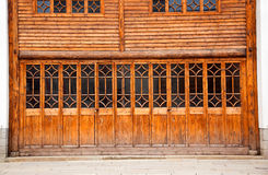 Closed wooden door and wall Royalty Free Stock Image