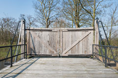 Closed wooden gate Royalty Free Stock Photography