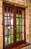 Closed wooden plastic vinyl window in old interior Stock Photography