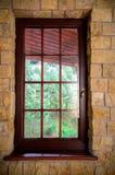 Closed wooden plastic vinyl window in old interior Stock Photo
