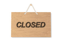 Closed wooden shop signboard Royalty Free Stock Images