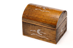 Closed wooden stash. Wooden stash with silver details Stock Photography