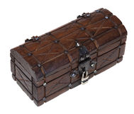 Closed wooden treasure Stock Photography