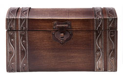 Closed Wooden Treasure Chest Royalty Free Stock Images