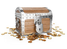 Closed wooden treasure chest with golden coins. Stock Photo