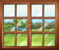A closed wooden window with glass Royalty Free Stock Photos