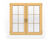 Closed wooden window  on white background Stock Images