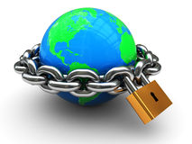 Closed world. Abstract 3d illustration of earth globe with chain and padlock Stock Photo