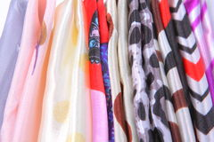 Closedup of colorful silk textile fabrics Stock Photography