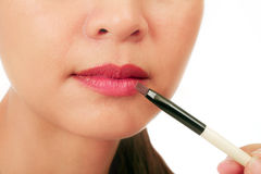 Closedup on the lips of an asian middle age woman Royalty Free Stock Images