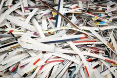 Strips of colored paper. A closely-photographed pile of cut strips of polygraph paper Royalty Free Stock Image