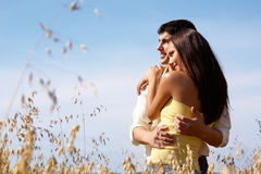 Closeness. Portrait of girlfriend and boyfriend hugging each other Royalty Free Stock Photography