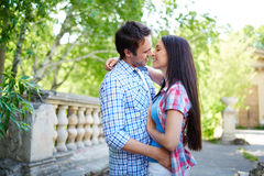 Closeness. Amorous young travelers embracing outdoors Royalty Free Stock Photos