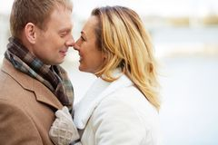 Closeness. Portrait of affectionate couple touching by their noses Royalty Free Stock Images