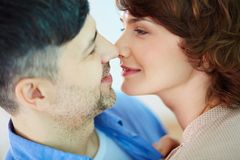 Closeness. Portrait of tender couple looking at one another Royalty Free Stock Photography